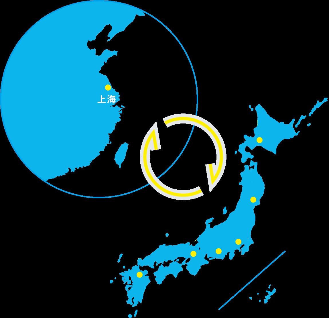 日本地図、上海